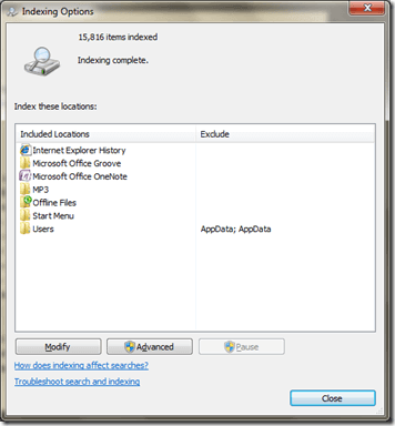 Configure Search Indexing Options for Windows Vista and 7